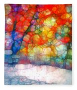 The Bench At First Snow Fleece Blanket