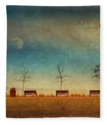 The Benches By The Moon Fleece Blanket