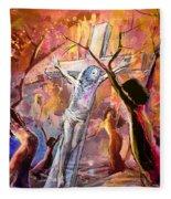 The Bible Crucifixion Fleece Blanket