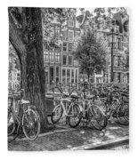 The Bicycles Of Amsterdam In Black And White Fleece Blanket