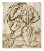 The Birth Of Bacchus From Jupiter's Thigh Fleece Blanket