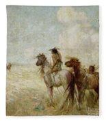 The Bison Hunters Fleece Blanket