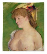 The Blonde With Bare Breasts Fleece Blanket