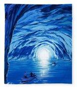 The Blue Grotto In Capri By Mcbride Angus  Fleece Blanket