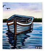 The Blue Wooden Boat Fleece Blanket