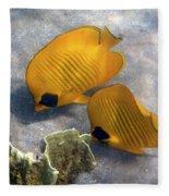 The Bluecheeked Butterflyfish Fleece Blanket