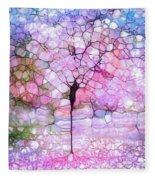 The Blushing Tree In Bloom Fleece Blanket