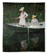 The Boat At Giverny Fleece Blanket