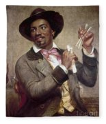 The Bone Player, 1856 Fleece Blanket