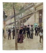 The Boulevard Montmartre And The Theatre Des Varietes Fleece Blanket
