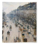 The Boulevard Montmartre On A Winter Morning, 1897  Fleece Blanket