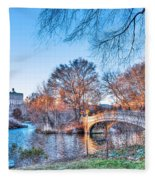 The Bow Bridge In Central Park Fleece Blanket