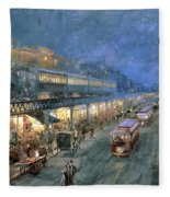 The Bowery At Night Fleece Blanket