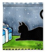 The Box Is Mine - Christmas Cat Fleece Blanket