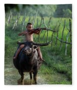 The Boy Playing The Red Violin In Thailand, Asia Fleece Blanket