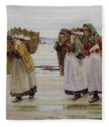 The Breadwinners Or Newlyn Fishwives Fleece Blanket