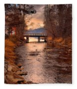 The Bridge By The Lake Fleece Blanket