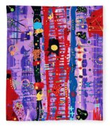 The Bright Red Ladder To Success Fleece Blanket