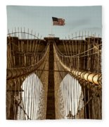 The Brooklyn Bridge Flag Fleece Blanket