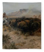 The Buffalo Hunt Fleece Blanket