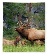 The Bugling Bull Elk Fleece Blanket