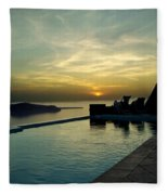 The Caldera View In Santorini Fleece Blanket