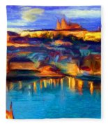 The Castle And The River Fleece Blanket