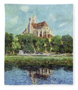 The Cathedral At Auxerre Fleece Blanket