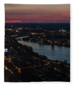The Charles River Runs Through Boston At Sunset Boston, Ma Fleece Blanket