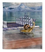 The Chess Game Fleece Blanket