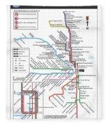 The Chicago Pubway Map Fleece Blanket
