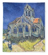 The Church At Auvers Sur Oise Fleece Blanket