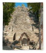 The Church At Grupo Coba At The Coba Ruins  Fleece Blanket