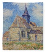 The Church At Porte-joie On The Eure Fleece Blanket