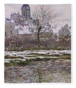 The Church At Vetheuil Under Snow Fleece Blanket