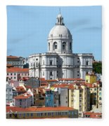 The Church Of Santa Engracia And Rooftops -- Lisbon Fleece Blanket