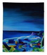 The City At The Sea Fleece Blanket