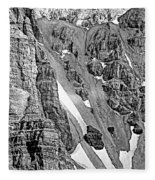 The Climb To Abbot's Hut Bw Fleece Blanket