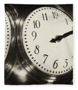 The Clock At Grand Central Fleece Blanket