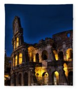 The Coleseum In Rome At Night Fleece Blanket