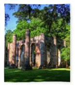 The Columns Old Sheldon Church Ruins Fleece Blanket