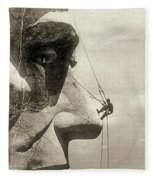 The Construction Of The Mount Rushmore National Memorial, Detail Of Abraham Lincoln,1928  Fleece Blanket by American School