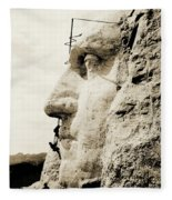 The Construction Of The Mount Rushmore National Memorial, Detail Of George Washington Fleece Blanket by American School