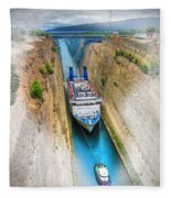 The Corinth Canal  Fleece Blanket