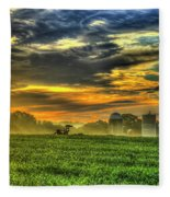 The Cornfield Dawn The Iron Horse Collection Art  Fleece Blanket