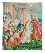 The Coronation Of Esther Fleece Blanket