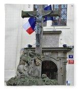 The Cross And Flags Fleece Blanket