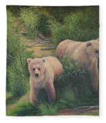 The Cubs Of Katmai Fleece Blanket
