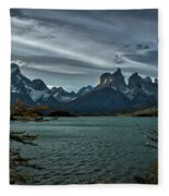 The Cuernos And Lake Pehoe #3 - Chile Fleece Blanket