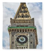 The Customs House Clock Tower Boston Fleece Blanket